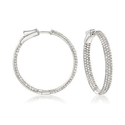 3.00 ct. t.w. Pave CZ Inside-Outside Hoop Earrings in Sterling Silver, , default