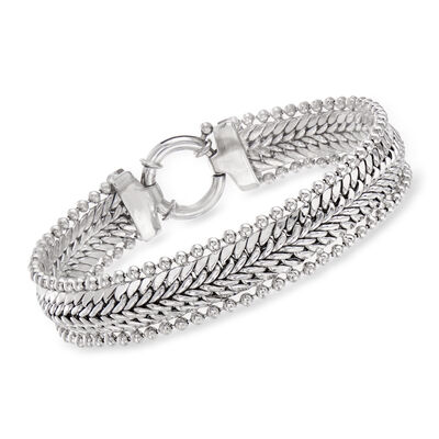 Sterling Silver Woven and Bead-Link Bracelet