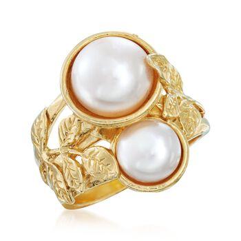 8-10mm Cultured Pearl Leaf Ring in 18kt Gold Over Sterling, , default