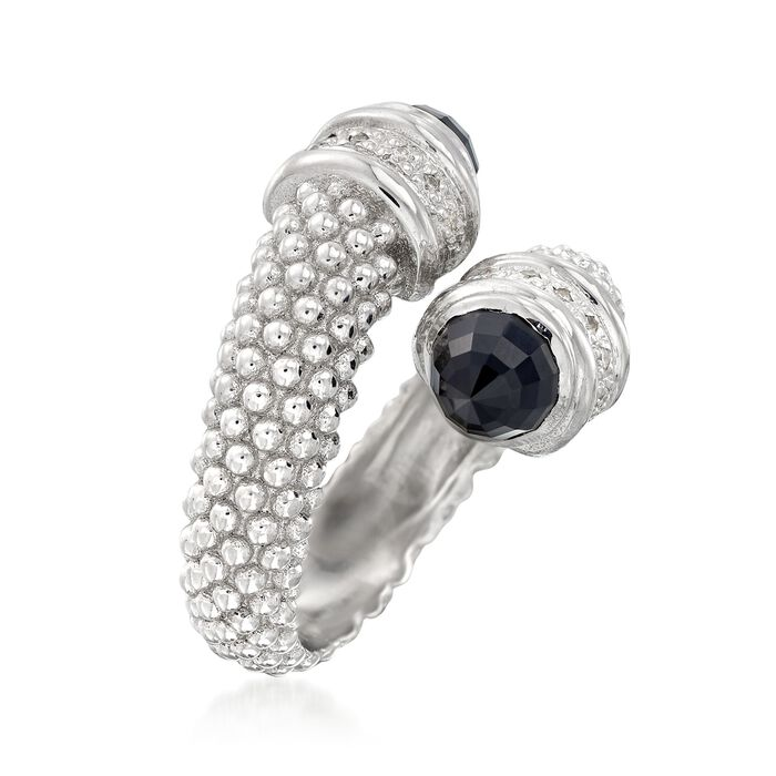 """Phillip Gavriel """"Popcorn"""" Black Onyx and .14 ct. t.w. Diamond Bypass Ring in Sterling Silver"""