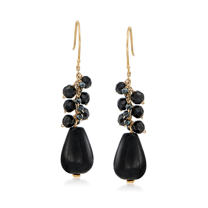 Black Onyx and Hematite Bead Drop Earrings in 14kt Yellow Gold, , default