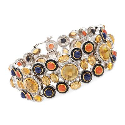 Multi-Stone Bracelet with Enamel in Sterling Silver, , default