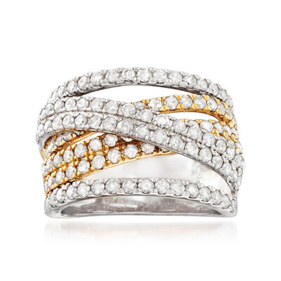 2.00 ct. t.w. Diamond Highway Ring in Sterling Silver and 18kt Gold Over Sterling, , default