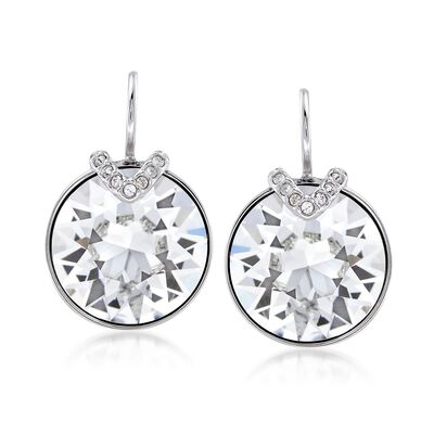 "Swarovski Crystal ""Bella"" Large Crystal Drop Earrings in Silvertone, , default"