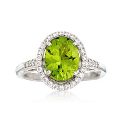 2.80 Carat Peridot and .51 ct. t.w. White Zircon Ring in Sterling Silver. Size 7, , default