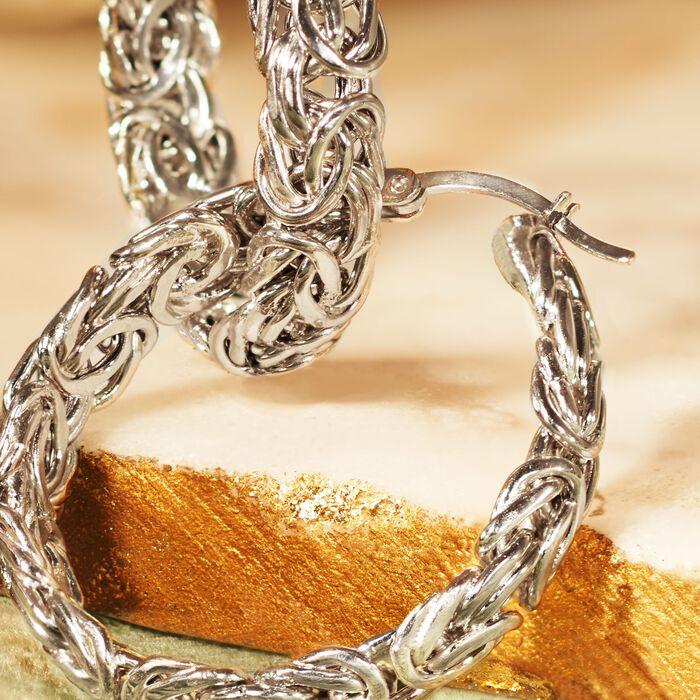 Sterling Silver Medium Byzantine Hoop Earrings