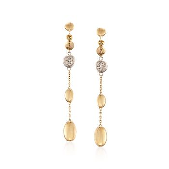 Roberto Coin 18kt Yellow Gold Pebble Drop Dangle Earrings With Diamond Accents, , default