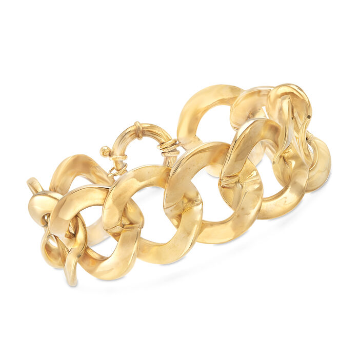 "Italian 14kt Yellow Gold Large Link Bracelet. 8"", , default"
