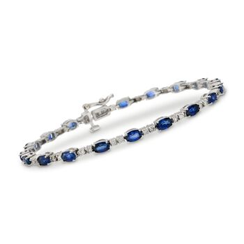 "6.25 ct. t.w. Sapphire and .75 ct. t.w. Diamond Bracelet in 14kt White Gold. 7"", , default"
