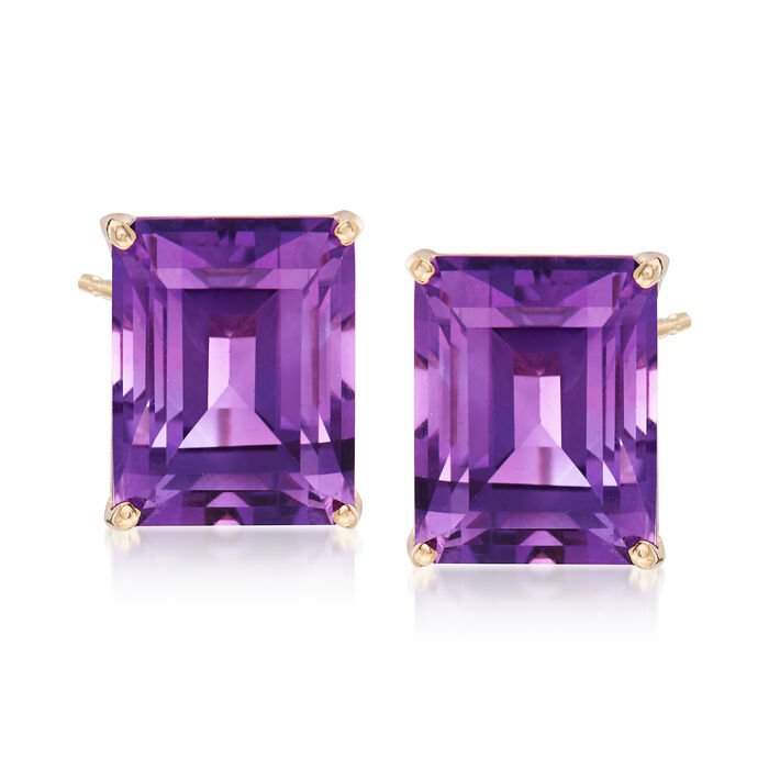 10.00 ct. t.w. Emerald-Cut Amethyst Stud Earrings in 14kt Yellow Gold, , default