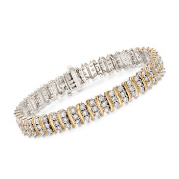 5.50 ct. t.w. CZ Station Tennis Bracelet in Two-Tone Sterling Silver, , default