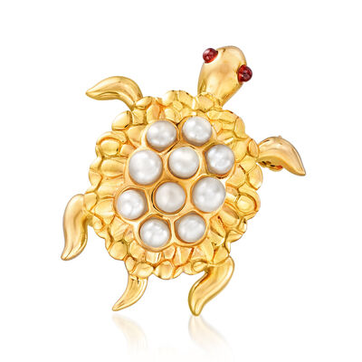 3.5-4.5mm Cultured Pearl and .10 ct. t.w. Garnet Turtle Pin in 18kt Gold Over Sterling, , default