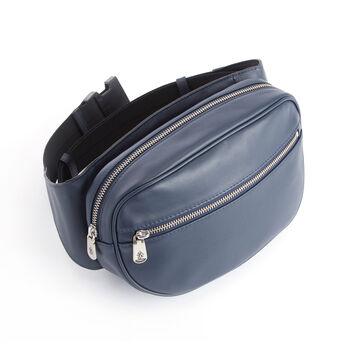 Royce Blue Leather Hip and Crossbody Belt Bag, , default