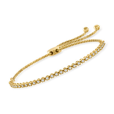 .50 ct. t.w. Diamond Bolo Bracelet in 18kt Gold Over Sterling