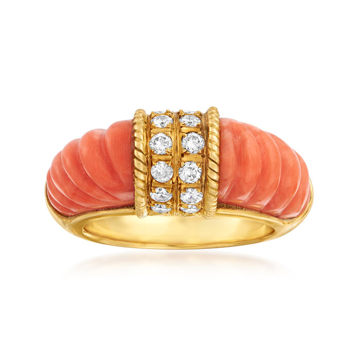 C. 1980 Vintage Coral and .50 ct. t.w. Diamond Ring in 18kt Yellow Gold. Size 6.5, , default