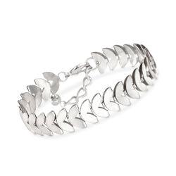 12mm Heart-Shaped Bracelet in Silvertone, , default