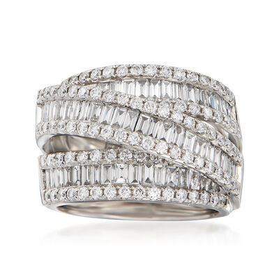 2.90 ct. t.w. Round and Baguette Diamond Highway Ring in 14kt White Gold, , default