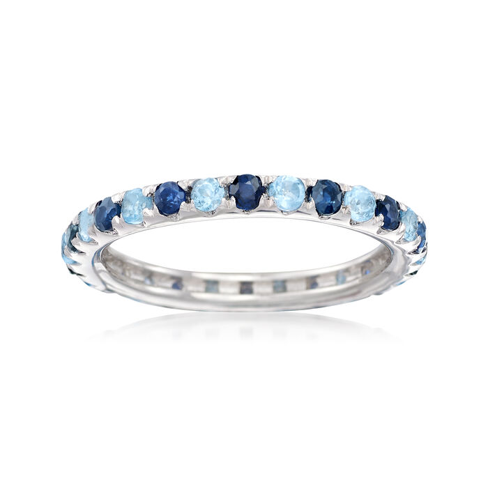 .60 ct. t.w. Sapphire and .50 ct. t.w. Blue Topaz Eternity Band in Sterling Silver, , default