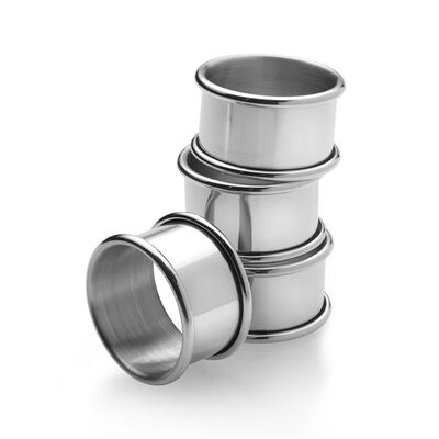 Empire Set of 4 Pewter Napkin Rings, , default