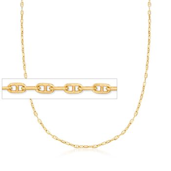 Italian 1.5mm 18kt Yellow Gold Over Sterling Silver Adjustable Slider Marine Link Chain Necklace , , default