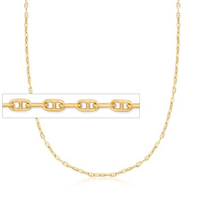 Italian 1.5mm 18kt Yellow Gold Over Sterling Silver Adjustable Slider Marine Link Chain Necklace, , default