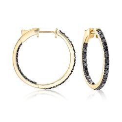 "2.00 ct. t.w. Black Diamond Inside-Outside Hoop Earrings in 14kt Yellow Gold. 7/8"", , default"