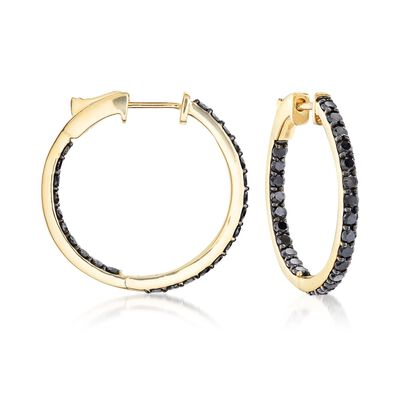 2.00 ct. t.w. Black Diamond Inside-Outside Hoop Earrings in 14kt Yellow Gold, , default