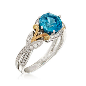 Simon G. 2.99 Carat Blue Zircon and .23 ct. t.w. Diamond Ring in 18kt Two-Tone Gold #907099