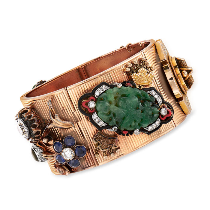 C. 1950 Vintage Multi-Gemstone and 3.25 ct. t.w. Diamond Bracelet in 14kt Rose Gold. 6.75""