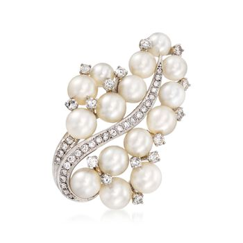 C. 1980 Vintage 5.5-7.5mm Cultured Pearl and 1.05 ct. t.w. Diamond Pin in 14kt White Gold , , default