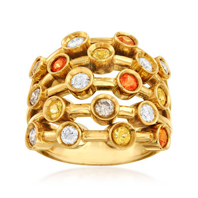 C. 1980 Vintage Chanel 1.50 ct. t.w. Multicolored Diamond Ring in 18kt Yellow Gold, , default