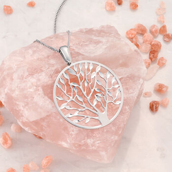"Italian Sterling Silver Cut-Out Tree of Life Pendant Necklace. 18"", , default"