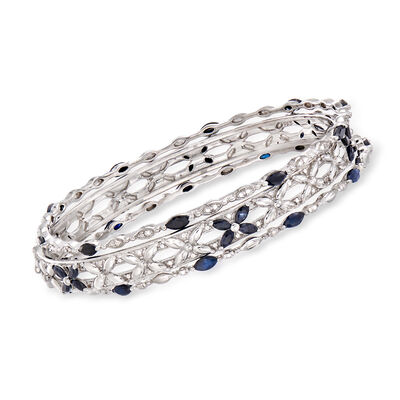 5.00 ct. t.w. Sapphire Jewelry Set: Three Bangle Bracelets in Sterling Silver