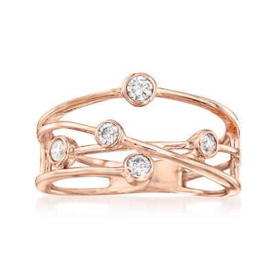 .25 ct. t.w. Diamond Crisscross Ring in 14kt Rose Gold, , default