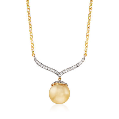 12mm Golden Cultured South Sea Pearl and .40 ct. t.w. Diamond Pendant Necklace in 14kt Yellow Gold