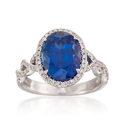 5.33 Carat Tanzanite and .33 ct. t.w. Diamond Ring in 14kt White Gold, , default