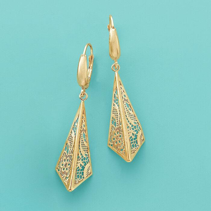 Italian 14kt Yellow Gold Filigree Triangle Drop Earrings