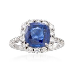 C. 1990 Vintage 2.90 Carat Sapphire and .95 ct. t.w. Diamond Ring in 18kt White Gold. Size 6, , default
