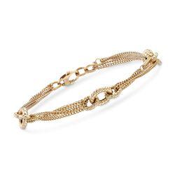 "Italian 14kt Yellow Gold Multi-Strand Link Bracelet. 7"", , default"