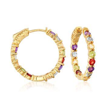 2.80 ct. t.w. Multi-Stone Inside-Outside Hoop Earrings in 18kt Gold Over Sterling. 7/8, , default
