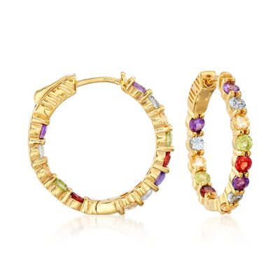 2.80 ct. t.w. Multi-Stone Inside-Outside Hoop Earrings in 18kt Gold Over Sterling, , default