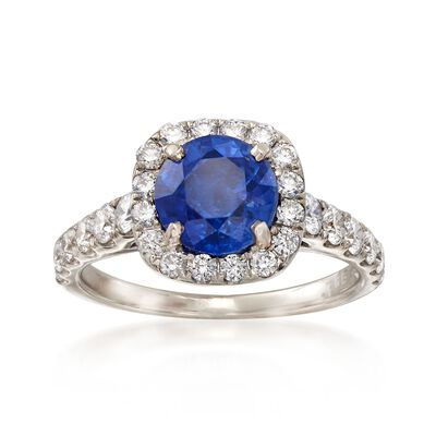 C. 1990 Vintage 1.50 Carat Sapphire and .85 ct. t.w. Diamond Ring in 14kt White Gold, , default