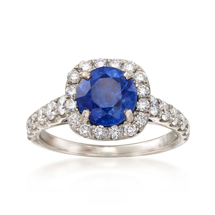 C. 1990 Vintage 1.50 Carat Sapphire and .85 ct. t.w. Diamond Ring in 14kt White Gold. Size 4, , default
