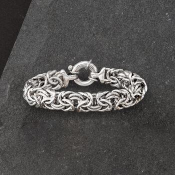 Italian Sterling Silver Byzantine Bracelet, , default