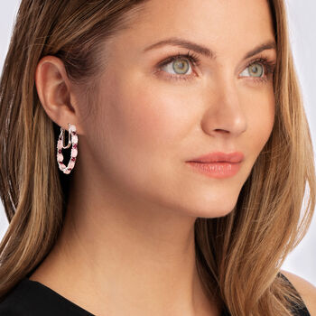 Pink Chalcedony and 2.70 ct. t.w. Rhodolite Garnet Hoop Earrings in Sterling Silver. 1 3/8""