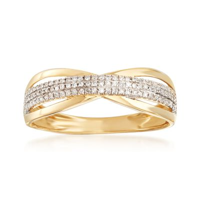 .14 ct. t.w. Diamond Openwork Ring in 14kt Yellow Gold, , default