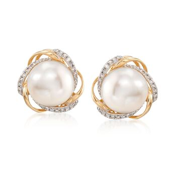 10-10.5mm Cultured Pearl and .19 ct. t.w. Diamond Swirl Earrings in 14kt Yellow Gold , , default