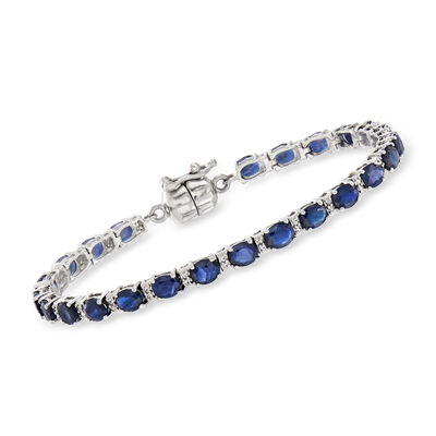 7.50 ct. t.w. Sapphire and .20 ct. t.w. White Topaz Tennis Bracelet in Sterling Silver with Magnetic Clasp
