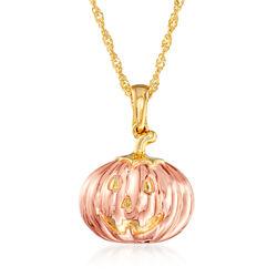 18kt Two-Tone Gold Over Sterling Jack-O-Lantern Pumpkin Adjustable Pendant Necklace, , default