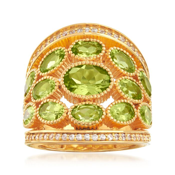 7.40 ct. t.w. Peridot and .80 ct. t.w. White Zircon Ring in 18kt Yellow Gold Over Sterling Silver, , default